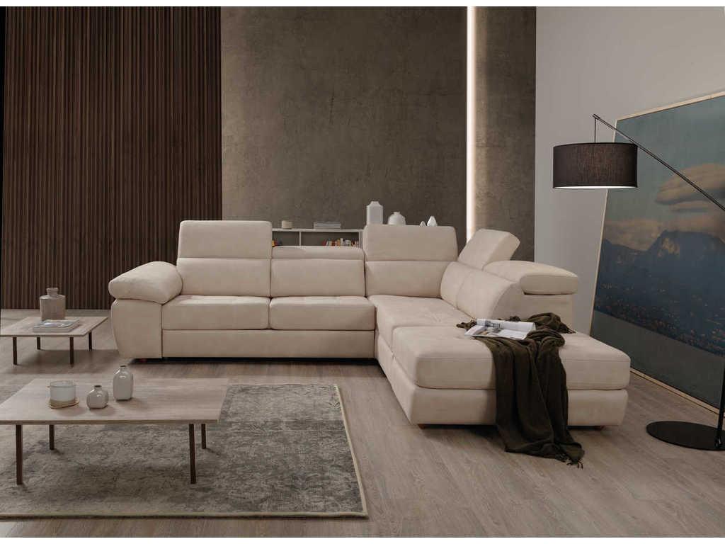 Divano angolare 285x240  con panca letto e pouff contenitore in tessuto krome/Econabuk